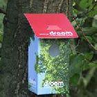 opvouwbare kartonnen vogelhuisjes met logos