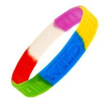 meerkleurige siliconen armbandje met gegraveerde tekst
