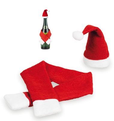 kerstmuts voor wijnfles en champagnefles