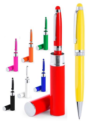 bedrukte pennen in koker